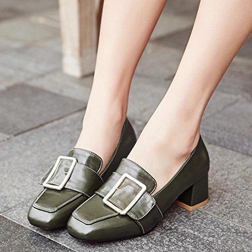 COOLCEPT Damen Mode-Event Schnallen Niedrige Brogues Schuhe Formal Mokassin Extra Sizes Green