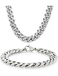 """Eyesworld Edelstahl Weizenkette Halskette für Männer Frauen Halskette Armband Schmuck Set 10mm in Breite, Armband 8,5 """"und Halskette 24"""" Set (In Silber)"""