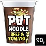 Olla de fideos de carne de vaca y 90 g de tomate