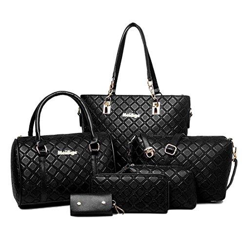 HT Women Handbag Set, Poschette giorno donna Black