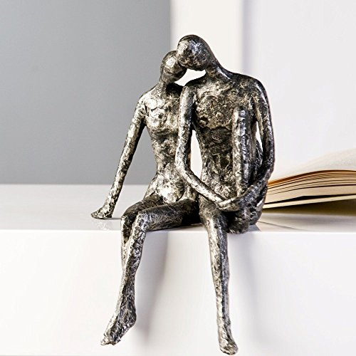 Casablanca Design Sculpture couple assis aspect argent vieilli 25 x 18 cm