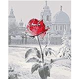 Kein Rahmen Winter Schnee Rose Blume Ölgemälde Moderne Wandkunst Leinwand Kinder Malerei Geschenke für Kinder Dekoration ww 30x45 cm