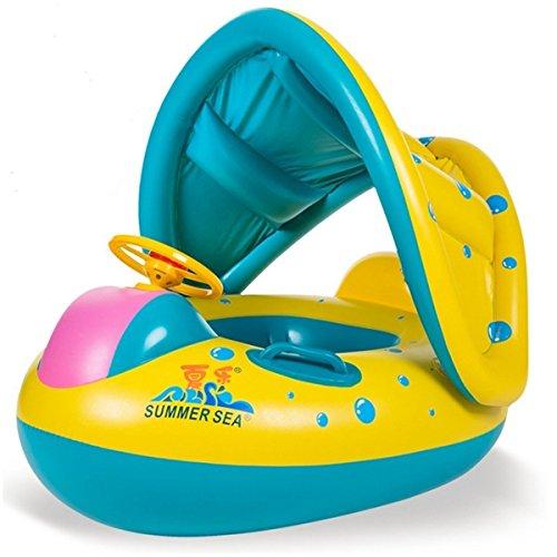 Baby Schwimmsitz Schwimmhilfe Schlauchboot Schwimmreifen , Aufblasbares Kinderboot Beach Sommer Hingucker für Wasserspaß Familienspaß in See Meer & Schwimmbad Geeignet für 6-36 Monate alten Babys