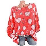 Blusen Frauen Übergröße Oansatz mit Langen Ärmeln Polka Dot Bluse Pullover Tops Shirt Orange XXXXL