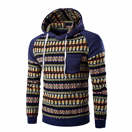 Men's Fashion Print Long Sleeve Stitching Pullover Casual Hoodie Navy