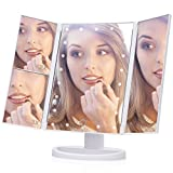 Kosmetikspiegel mit LED Beleuchtung, EECOO 21 LED Schminkspiegel Spiegel Faltbar Tischspiegel 180 Grad Drehung 1X 2X 3X Vergrößerungsspiegel USB Aufladbar für Wohnzimmer, Kosmetikstudio usw.