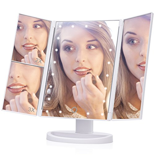 Espejo de maquillaje, EECOO Luces LED Espejo triple 1X 2X 3X Ampliación con pantalla táctil Espejo de 180º ajustable Espejo de vanidad (21leds, Cargador USB, Blanco)