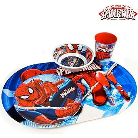 Bakaji Set Prima Colazione Kit Pappa Spiderman Con Posate Piatti Bicchiere Tovaglietta Uomo Ragno Marvel Asilo Scuola Bambini