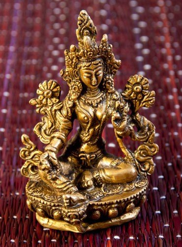 Chenresig Höhe 4,5cm Buddha Statue aus Messing Avalokiteshvara Handarbeit