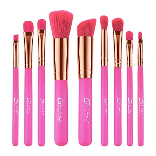 Baoblaze Kit Pinceaux Brosse de Maquillage Brush make-up en Poils Doux Manche en Bois pour Fond de Teint du Visage/Contour Correcteur - Lot 9pcs/12pcs - B