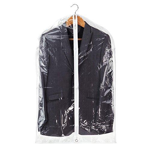 Hangerworld Lot synthétique 101,6 cm Housse pour s'adapter à fermeture Éclair Sacs de vêtements avec bordure Blanc 2 Clair,