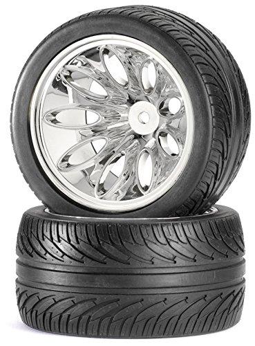 Carson 500900052 - 1:10 Reifen/Felgen-Set Truggy On-Road, Modellbauzubehör, 2 Stück, schwarz