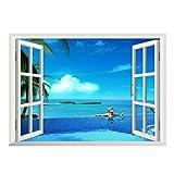 Zhide 3D-Wandbild Geöffnetes Fenster mit Meerblick Wandtattoo Wandaufkleber MC-029 (68*48cm/26.77 * 18.9 inch)
