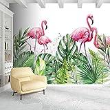 Flamants roses Tropical Papier Peint Stickers Muraux Pour Salon Peinture À La Main Imprimé Photo Plantes Feuilles Animal Fonds D'écran 3D 1m2
