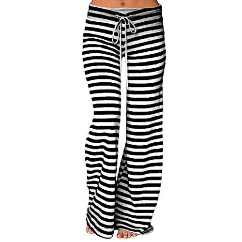 QBQ Women Stripe Palazzo Pantaloni coulisse in cotone casual pantaloni larghi, buono per la festa di vacanza Yoga Nero