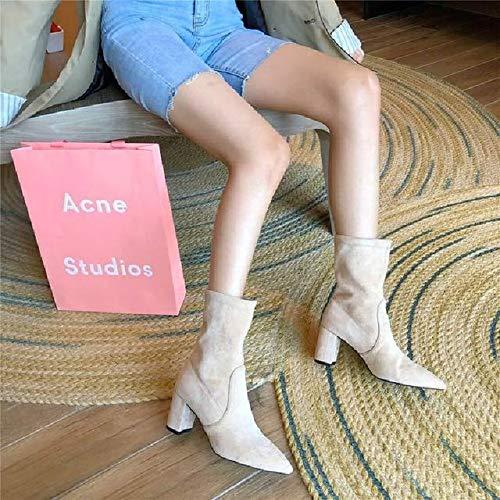 PIAOLDXZ Stivali Stivaletti Elasticizzati da Donna Stivali A Punta A Calzino Stivali con Tacco Quadrato Stivali da Do