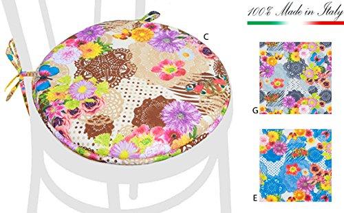 ARREDIAMOINSIEME-nelweb Coussin Papillons Cartoon Rond avec Lacets diamètre 40 cm rembourrés avec éponge Tissu Coton 100% Made in Italy Mod.dalia9 Bleu