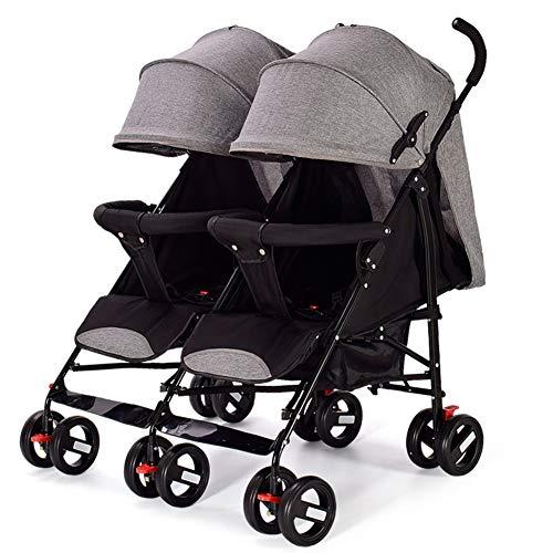 Doppelkinderwagen - Tandemwagen - Zwillingskinderwagen - Faltbarer Regenschirm für Kompaktkinderwagen - Liegefunktion - Vom Säugling bis zum Kleinkind 0-36 Monate Maximale Belastung 25 kg