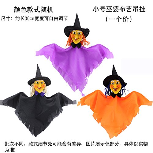 SunBai Halloween Dekoration Requisiten Halloween Girlanden Hexe Kürbis und Harz Stroh Kran hängenden Puppen, kleine Hexe Glätten hängender Kleidungsstücke