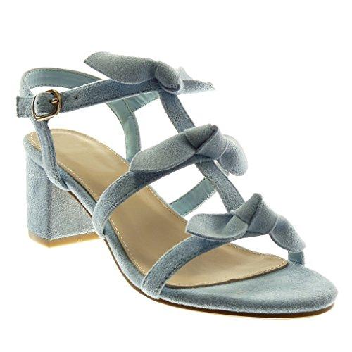 Angkorly - Scarpe Moda Sandali con Cinturino alla Caviglia Donna Nodo Multi-Briglia Tacco a Blocco Alto 6.5 CM - Azzurro BL239 T 36
