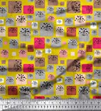 Soimoi Gelb Samt Stoff Künstlerische Blumen & Square