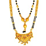 #1: Mansiyaorange 2 Different Shape Gold Look Fine Golden Glorious Long and Short Mangalsutra (MS) for Women (18-inch and 26-inch) - Combo of 2