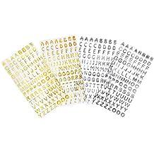 Pegatinas de Letra Pegatinas de Alfabeto Etiqueta Adhesiva Brillante Adornos de Letras, Dorado y Plateado