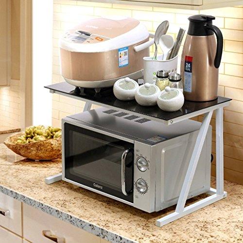 GRY Scaffale da cucina 2 strati Scaffale da forno a microonde, stendibiancheria, organizer da cucina, vetro temperato + mensola per tubi in acciaio,Mensola bianca + vetro nero
