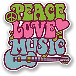 2 x 10cm Love Peace Music Vinyl Sticker Laptop Car Camper Surf Guitar Kids #5939