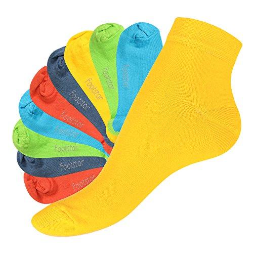 Footstar 10 Paar SNEAK IT! Unisex Kurzschaft Sneaker Trendfarben-39-42