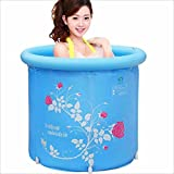 LANXINYU Vasca Vasca da bagno pieghevole in plastica stampata blu Vasca da bagno per bambini Vasca da bagno gonfiabile per adulti Vasca da bagno per bambini Vasca da bagno (dimensioni : 75 * 75cm)