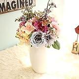 Longra Wohnaccessoires & Deko Kunstblumen Künstliche Seide Kunstblumen 9 Köpfe Blatt Hochzeit Blumen Dekor Bouquet Rose (05B: 1 Strauß)