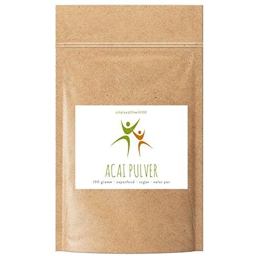 Acai Pulver | 100 g | 100% vegan | Superfood | Glutenfrei | Laktosefrei | OHNE Hilfs- u. Zusatzstoffe