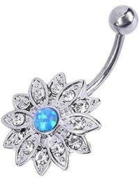 Zibuyu Elegant Natural Body Piercing Jewelry Opal Crystal Flower Navel Nail(Op05)