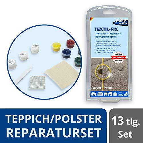 1-2-3 REPAIR Polster Reparaturset - Brandloch entfernen, Couch reparieren, Polstermöbel retten - 13tlg. Reparaturset