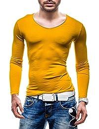 STEGOL Longsleeve Herren Langarmshirt V-neck Slim Fit T-shirt 8 Farben 548