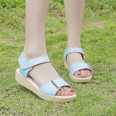 FSCHOOLY Scarpe Donna Pu Primavera Estate Comfort Sandali Tacco Piatto Di Abbigliamento Casual Azzurro Rosa Bianco Blu chiaro