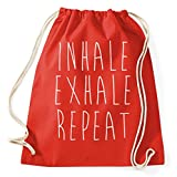 Inhale Exhale Repeat Yoga Pilates Turnbeutel Sportbeutel Jutebeutel Rucksack Spruch Sprüche Hipster Design, red