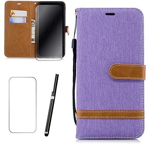 LG K8 2016 Hülle LaiXin Tasche Schutzhülle Handy Cover Handytasche Flip Case Book Style [Stoff Bezug und PU Leder] mit Standfunktion + Stylus Pen + Displayschutz-Hellviolett