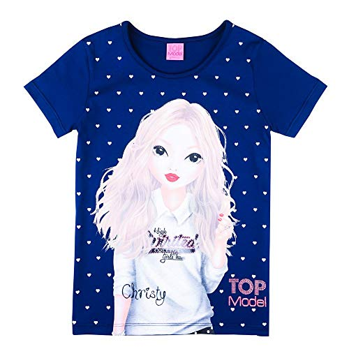 Top Model Mädchen T-Shirt, blau, Größe 128, 8 Jahre -