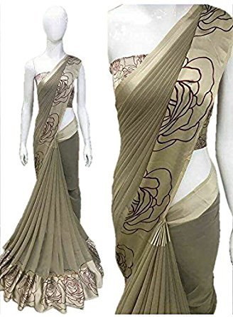 Pujia Mills Georgette Saree With Satin Print Border Saree With Blouse Piece...