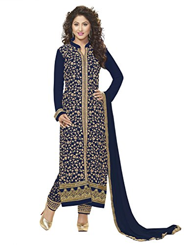 KVSFAB Women's Georgette Embroidery Salwar Suit Dress Material(Unstitched,Blue colour)[152Hiya]