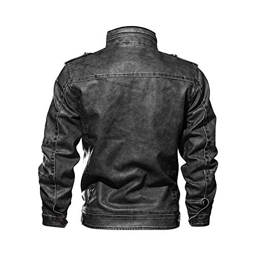 Beaulies Men''s Leather Baseball Bomber Jacket Vintage Suede Motorcycle Cafe Racer Retro Moto Distressed Leather Jacket Pilot Aviator Jacket (Black) Black Aviator Jacket