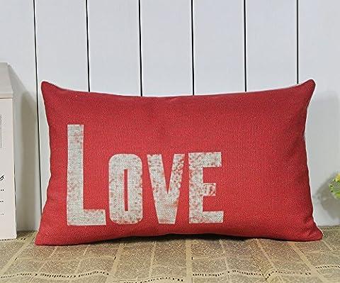 30*50cm Vintage Red Love Words Waist Pillow Case Linen Cotton Cushion Cover New