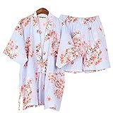 Alien Storehouse Women's Japanese Style eng Anliegende, Kurze Ärmel Baumwolle Kimono Pyjamas Anzug Dressing Gown Set, D