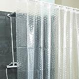 PEVA Duschvorhang halb-transparent 3D Diamanten Motiv | Badewanne Duschvorhang Anti Schimmel PVC-frei umweltfreundlich wasserdicht Wannenvorhang 180x180cm