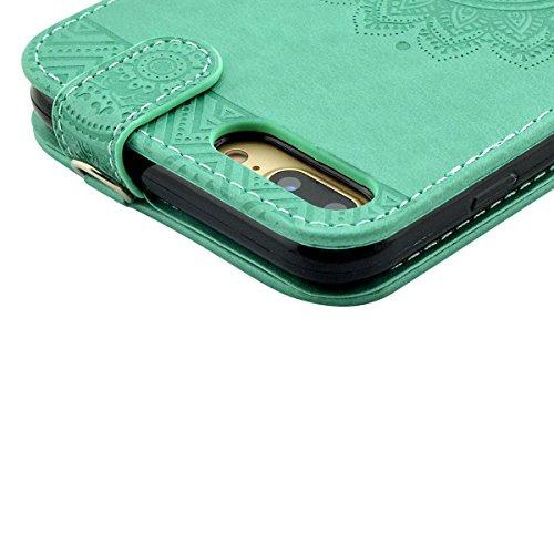iPhone 8 Lederhülle, iPhone 7 Ledertasche - Fraelc UltraSlim 360 Grad Klapphülle Flip Case mit Karte Halter und Standfunktion Leder Schale für Apple iPhone 7 / iPhone 8 (4,7 Zoll) im Henna Motiv Desig Mintgrün