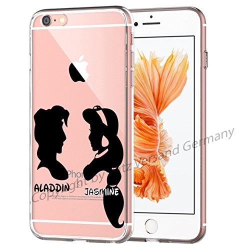 Blitz® Silhouette motifs housse de protection transparent TPE iPhone Peter Pan et Wendy M15 iPhone 6 6s Aladdin et Jasmine M10