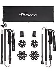 TREKOO Trekkingstöcke Wanderstöcke,Nordic Walking Stöcke Verstellbar Faltbarer 105-125cm mit Anti-Shock Dämpfungssystem Fit für Wanderung[2 Stück]