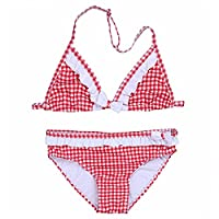 FEESHOW Kids Girls Plaid Bowknot Bikini Tankini Set Halter Tops with Bottoms Swimsuit Red 8-10 Years